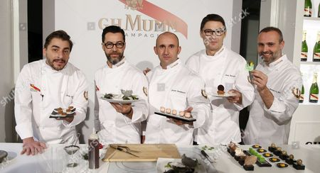 A Picture Made Available on 13 November 2014 Shows Spanish Chefs (l-r) Jordi Roca Quique Dacosta Jacob Torreblanca Oriol Balaguer and Rodrigo De La Calle Posing For Photographers As They Present Their Reinterpretation of Brunch on the Occassion of the 6th Maison G H Mumm Event in Madrid Spain 12 November 2014 Spain Madrid