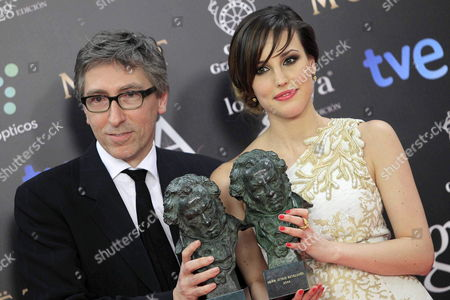 Spanish Actress Natalia De Molina (r) Poses For the Media After Receiving Her 'Best New Actress' Goya Award Next to Spanish Film Director David Trueba (l) with His 'Best Original Screenplay' For the Film 'Vivir Es Facil Con Los Ojos Cerrados' During the 28th Goya Awards Awarding Ceremony in Madrid Spain 09 February 2014 Spain Madrid