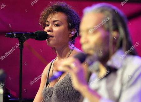 Us Singer Bobby Mcferrin (r) Performs on Stage Together with His Daughter Madison Mcferrin (l) During Their Jazz Festival Concert at the Trinidad Square in San Sebastian Northern Spain on 24 July 2014 Spain San Sebastißn