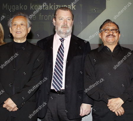 Nobel Literature Prize 2000 Chinese Writer Gao Xingjian (l) Poses For Photographs with Bilbao's Deputy Mayor Jose Luis Sabas (c) and Mexican Writer Sergio Gonzalez (r) During the Presentation of the Bilbao Literary International Festival 'Gutun Zuria' in Bilbao Spain 03 April 2014 Spain Bilbao