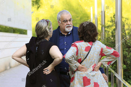 Stock Picture of Juan Pablo Goicoechea (c) the Son of Late Spanish Writer Ana Maria Matute Chats with Two Unnidentified Women Outside the Author's Funeral Chapel in Barcelona Spain 26 June 2014 Matute Died at the Age of 88 in Barcelona on 25 June Spain Barcelona