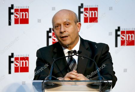 Spanish Education Culture and Sports Minister Jose Ignacio Wert Speaks During the Barco De Vapor and Gran Angular Awards Ceremony in Madrid Spain 21 April 2015 the Awards Are Among the Most Important Prizes in Spanish Youth and Children's Literature Spain Madrid