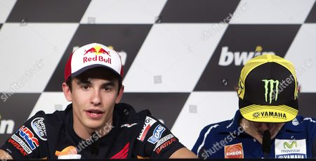 Stock Picture of Spanish Moto Gp Pilot Marc Marquez (l) of Repsol Honda and Italian Valentino Rosi (r) of Yamaha During the Official Press Conference Held at Jerez's Track in Jerez Andalusia Spain 01 May 2014 the Jerez Grand Prix Will Be Upcoming 04 May Spain Jerez De La Frontera