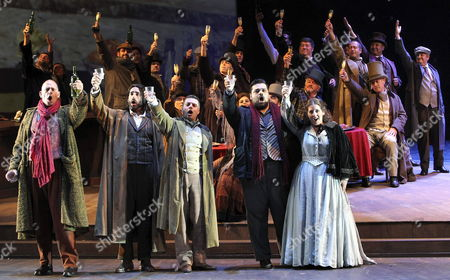 Actors Giordano Luca (2-r) Gal James (r) David Menendez (c) Juan Jesus Rodriguez (l) and David Menandez (2-l) Perform During the Dress Rehearsal of the 'La Boheme' Opera by Puccini and with the Basque Country Orchesta Held at Kursaal Auditorium in San Sebastian Basque Country Spain 13 August 2014 Spain San Sebastian