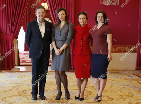Italian Conductor Renato Palumbo (l) Poses Next to Russian Sopranos Venera Gimadieva (r) and Irina Lungu and Albanian Soprano Ermonela Jaho (2-r) During the Presentation of Giussepe Verdi's 'La Traviata' at the Teatro Real in Madrid Spain 16 April 2015 the Show is a Joint Production Between Madrid's Teatro Real Barcelona's Gran Teatre Del Liceu the Scottish Opera of Glasgow and the Welsh National Opera of Cardiff Spain Madrid