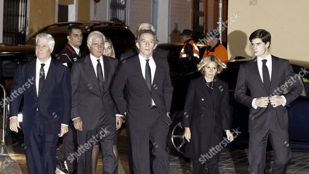 Alfonso Diaz the Widower of Cayetana Fitz-james Stuart Duchess of Alba (c) the Sons of Duchess of Alba Carlos (l) Alfonso (2-l) Eugenia (2-r) and Jacobo (c-back) and One of Her Grandsons Fernando (r) Arrive to Attend a Funeral Mass For the Duchess at the Valle's Church in Seville Andalusia Spain 01 December 2014 the Spanish Aristocrat Died Aged 88 at Home on 20 November After a Short Illness Spain Sevilla