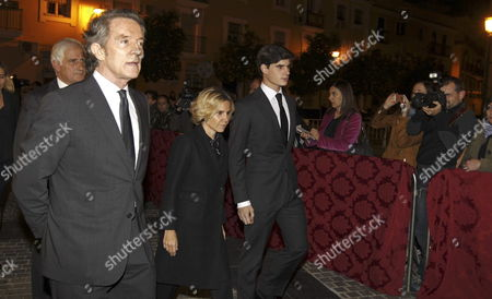 Alfonso Diaz the Widower of Cayetana Fitz-james Stuart Duchess of Alba (2-l) the Sons of Duchess of Alba Alfonso (l) and Eugenia (2-r) and One of Her Grandsons Fernando (r) Arrive to Attend a Funeral Mass For the Duchess at the Valle's Church in Seville Andalusia Spain 01 December 2014 the Spanish Aristocrat Died Aged 88 at Home on 20 November After a Short Illness Spain Sevilla