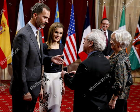 Spain's King Felipe Vi (l) and Queen Letizia (2-l) Greet Irish Writer John Banville Winner of Prince of Asturias Award For Literature During the Traditional Reception with Prince of Asturias Awards Winners in Oviedo Asturias Northern Spain 24 October 2014 the King Awarded the Winners with the Awards' Badge Several Hours Before Felipe Vi Chairs the Prince of Asturias Awards Ceremony Spain Oviedo