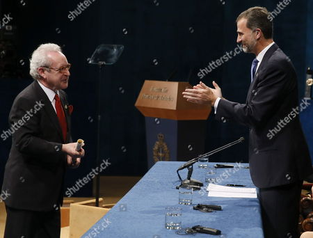 Irish Writer John Banville (l) Receives the 2014 Prince of Asturias Award For Literature From Spanish King Felipe Vi (r) During the 2014 Prince of Asturias Awards Ceremony at the Campoamor Theatre in Oviedo Spain 24 October 2014 the Prizes Are Presented Annually by the Prince of Asturias Foundation to International Individuals Entities Or Organizations who Make Important Achievements in Sciences Humanities and Public Affairs Spain Oviedo