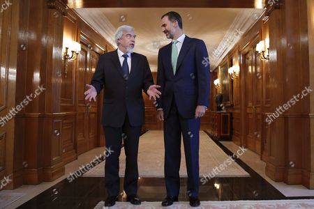 Stock Image of Spanish King Felipe Vi (r) Chats with the Director General of the European Organization For Nuclear Research (cern) German Particle Physicist Professor Dr Rolf-dieter Heuer (l) During a Meeting at La Zarzuela Palace in Madrid Spain 17 November 2014 Heuer is in Madrid As Part of Events to Mark the 60th Anniversary of Cern Spain Madrid