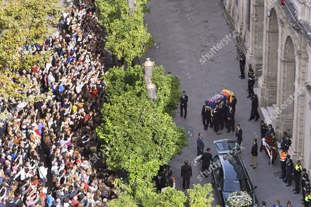 A Crowd Gathers in Front of the City Hall As the Coffin C of Cayetana Fitz-james Stuart Duchess of Alba is Carried to a Car to Be Driven to the Cathedral For Her Funeral Service in Seville Spain 21 November 2014 the Duchess of Alba Died Aged 88 at Home on 20 November After a Short Illness Spain Seville