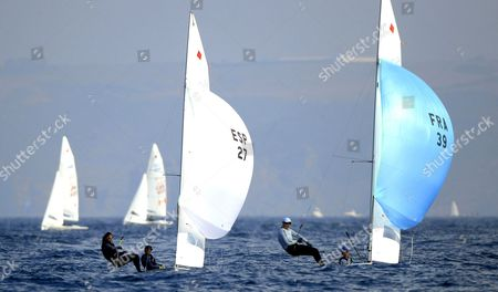 Maelenn Lemaitre and Aloise Retornaz of France (r) Compete Against Angela Pumariega and Patricia Cantero Reina of Spain (l) in the Women's 470 Class Event on the Third Day of the Santander 2014 Isaf Sailing World Championships at Cabo Mayor Area Offshore Santander Northern Spain 14 September 2014 Spain Santander
