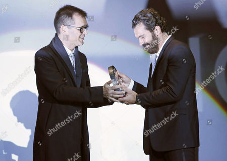 Spanish Actor Antonio Banderas (r) Receives the Honour Award For His Career From Festival Director Angel Sala (l)during the 47th Sitges Film Festival in Sitges Outside Barcelona Spain 09 October 2014 the Festival Runs From 03 to 12 October Spain Sitges (barcelona)
