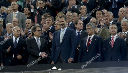 Spain's King Felipe Vi (c) Next to Catalonia Regional Government President Artur Mas (2l) and Spanish Culture Minister Jose Ignacio Wert (l) Among Others Prior to the Spanish King's Cup Final Match Played Between Fc Barcelona and Athletic Bilbao at Camp Nou Stadium in Barcelona Northeastern Spain 30 May 2015 Spain Barcelona