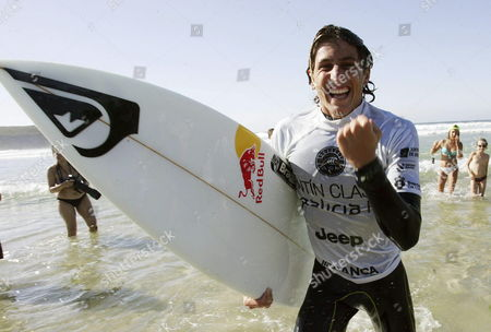 Italian Surfer Leonardo Fioravanti Celebrates His Win in the Men's Pantin Classic Galicia Pro 2014 Final Held in Valdovino in a Coruna Northwestern Spain 31 August 2014 Spain Valdovino