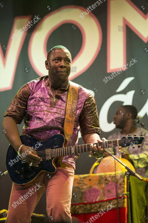 Stock Image of Mali?s Singer and Guitarist Vieux Farka Toure Performs on Stage During His Womad Festival Concert at Plaza Mayor in Caceres Southwestern Spain 09 May 2014 Spain Cßceres
