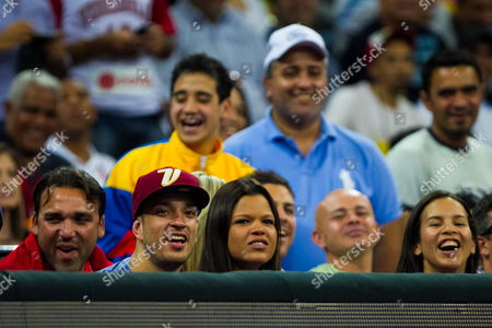 Daughter of Deceased Venezuelan President Hugo Chavez Maria Gabriela Chavez (c) Looks at Venezuela Vs Uruguay Play-off of American Pre-olympic Basketball Tournament in Caracas Venezuela 05 September 2013 Prior the World Championship Which Will Be Held in Spain in 2014 Venezuela Won 70-64 Venezuela Caracas