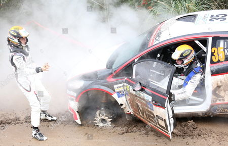 Jari Ketomaa of Finland (r) and His Codriver Kaj Lindstrom Have Car Trouble with the Ford Fiesta R5 Wrc During the Second Stage of the Rally Argentina 2014 As Part of the World Rally Championship (wrc) in Agua De Oro Argentina 09 May 2014 Argentina Agua De Oro