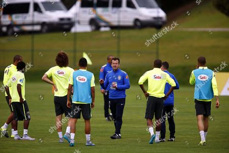 Brazilian National Soccer Team Head Coach Carlos Dunga (c) Leads His Team's Training Session in Teresopolis Brazil 03 May 2015 Brazil Will Face Peru in the Copa America Group C Match on 14 June 2015 in Chile Brazil Teresopolis
