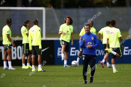 Brazilian National Soccer Team Head Coach Carlos Dunga (front) Leads His Team's Training Session in Teresopolis Brazil 03 May 2015 Brazil Will Face Peru in the Copa America Group C Match on 14 June 2015 in Chile Brazil Teresopolis