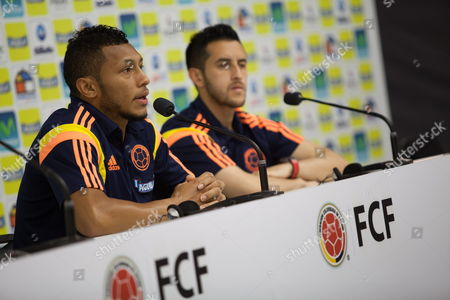 Colombian Players Carlos Valdes (l) and Goalkeeper Camilo Vargas (r) During a Press Conference in Cotia Brazil 01 July 2014 Colombia Will Face Brazil in a Quarter Final Match of the Fifa World Cup Brazil 2014 on 04 July Brazil Cotia