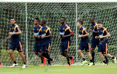 Colombian National Soccer Team Players (from Left to Right) Carlos Valdes Carlos Carbonero Eder Alvarez Balanta Jackson Martinez Juan Fernando Quinterio Adrian Ramos and Santiago Arias During a Training Session at Laudo Natel Center in Cotia Brazil June 15 2014 Brazil Cotia