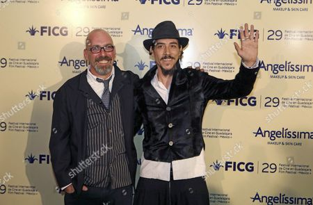 Spanish Actor Oscar Jaenada (r) Poses with Mexican Director Sebastian Del Amo Upon Their Arriving at the Premiere of the Movie 'Cantinflas' During International Guadalajara Film Festival in Guadalajara Mexico Late 24 March 2014 Jaenada is the Star in Cantinflas the Movie About the Mexican Legend Actor and Humorist the Film Festival Runs From 21 to 30 March Mexico Guadalajara