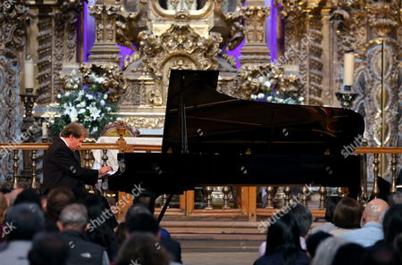 Austrian Piano Player Rudolf Buchbinder Performs at the First of His Seven Concerts at the Templo De La Valenciana in the City of Guanajuato Mexico 10 October 2014 During the 42nd Cervantino International Festival Buchbinder Will Perform Seven Concerts During Five Consecutive Days to Play the 32 Sonatas For Piano of Ludwig Van Beethoven (1770-1827) Mexico Guanajuato