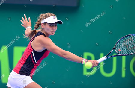 Serbian Jovana Jaksic in Action Against Japanese Kimiko Date During the Semifinal Match of the Monterrey Open Tennis in Mexico 05 April 2014 Mexico Monterrey