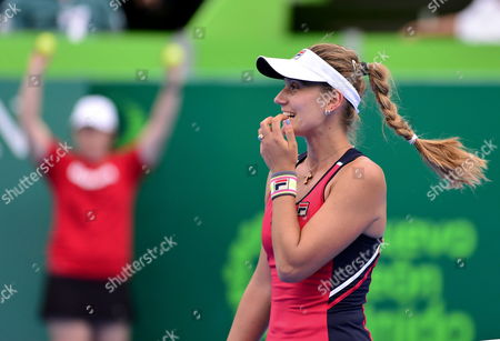 Serbian Jovana Jaksic Reacts After Losing a Point Against Japanese Kimiko Date During the Semifinal Match of the Monterrey Open Tennis in Mexico 05 April 2014 Mexico Monterrey