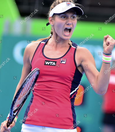 Serbian Jovana Jaksic Reacts After Winning a Point Against Japanese Kimiko Date During the Semifinal Match of the Monterrey Open Tennis in Mexico 05 April 2014 Mexico Monterrey