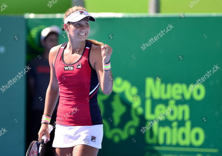 Serbian Jovana Jaksic Celebrates After a Point Against Thai Luksika Kumkhum During Their Match of the Open of Monterrey Held in the City of Monterrey Mexico 02 April 2014 Mexico Monterrey