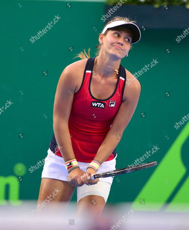 Serbian Jovana Jaksic Reacts After Loosing a Point to Her Fellow Serbian Ana Ivanovic During Their Monterrey Tennis Cup Final Game in Monterrey Mexico 06 April 2014 Mexico Monterrey