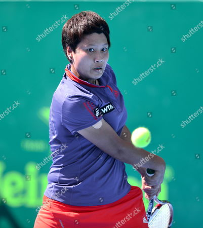 Thai Luksika Kumkhum in Action Against Serbian Jovana Jaksic During Their Match of the Open of Monterrey Held in the City of Monterrey Mexico 02 April 2014 Mexico Monterrey