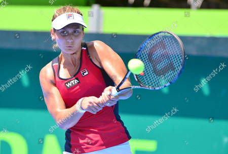 Serbian Jovana Jaksic Returns a Ball Against Italian Karin Knapp During a Match As Part of the First Day of Monterrey's Tennis Open in Monterrey Mexico 31 March 2014 Mexico Monterrey