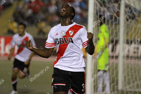 Eder Alvarez Balanta From River Plate of Argentina Celebrates After Scoring Against Juan Aurich of Peru During Their Match of the Libertadores Cup Held in Chiclayo Peru 12 March 2015 Peru Chiclayo