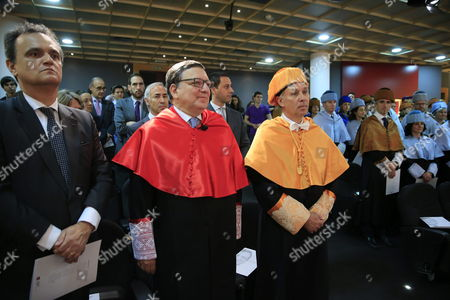 Former European Commission's President Portuguese Jose Manuel Durao Barroso (2-l) Waits to Be Granted an Honorary Doctorate From Spanish Universidad Europea De Madrid University in Villaviciosa De Odon Outside Madrid Spain 16 April 2015 Spain Villaviciosa De Od?n (madrid)