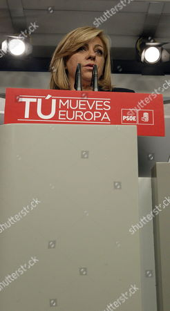 Spanish Socialist Party Candidate For the European Parliament Elena Valenciano Gives a Speech After Getting the Results at the Headquarters of the Party in Madrid Spain on 25 May 2014 the Figures Give 26% For the Ruling Party (popular Party) and 16 Seats Socialist Party with 23% and 14 Benchs United Left Coallition with 10% and 6 Seats and the Surprise of This Elections a Party Called Podemos (we Can) Connected to the Indignados Movement with 8% and 5 Seats Spain Madrid