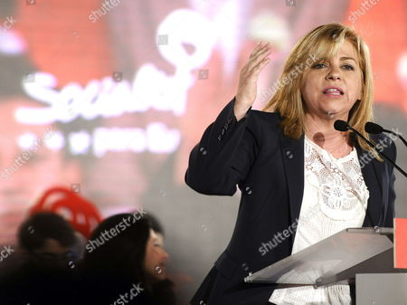 Spanish Socialist Party Psoe's Top Candidate For European Parliament Elena Valenciano Gives a Speech During the Final Rally of the Election Campaign For European Parliament Elections in Seville Spain 23 May 2014 the European Elections Which Run From 22 to 25 May Will Form a New European Parliament Whose 751 Members Will Help Set Laws in the European Union For Five Years to Come Spain Seville