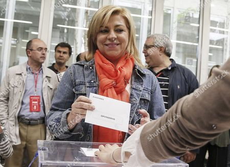 Psoe Party's Main Candidate For the European Elections Elena Valenciano Casts His Vote at a Polling Station in Madrid Spain 25 May 2014 the European Elections Will Form a New European Parliament Whose 751 Members Will Help Set Laws in the European Union For Five Years to Come About 400 Million People in the 28-country Bloc Are Eligible to Vote Spain Madrid