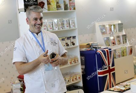 Stock Picture of British Pastry Chef Mark Tilling Poses at His Stand During the Opening Ceremony of the Second International Fair of Creative Confectionery in Barcelona Spain 22 November 2013 the Event Runs Until 24 November Spain Barcelona