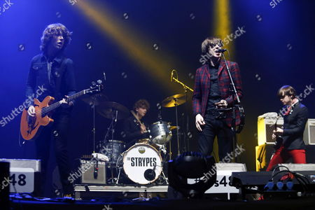 Singer Ross Farrelly (2-r) Guitarist Josh Mcclorey (r) Bassist Pete O'hanlon (l) and Drummer Evan Walsh (2-l) of Irish Band the Strypes Perform on Stage During the Sos 4 8 Festival in Murcia Spain 02 May 2014 Spain Murcia