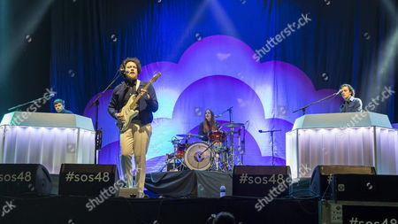 British Singer Joseph Mount (c-l) From the Group Metronomy Perfoms on Stage During the Estrella Levante Sos 4 8 Feastival Celebrated at the Fica Fairgrounds in Murcia Spain 01 May 2015 Spain Murcia