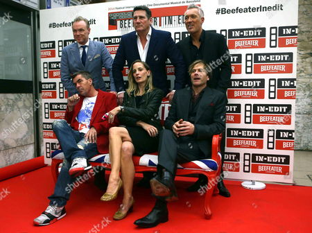 'Spandau Ballet' Lead Singer Tony Hadley (center Up) Poses with Band Members Gary Kemp (l Up) John Keeble (l Down) Steve Norman (r Down) Martin Kemp (r Up) and Director George Hencken (c Down) As They Arrive For the Premiere of 'Soul Boys of the Western World' at the In-edit Festival in Barcelona Spain 27 October 2014 Spain Barcelona