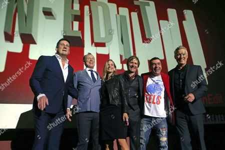 Stock Photo of 'Spandau Ballet' Lead Singer Tony Hadley (l) Band Members Gary Kemp (2-l) John Keeble (2-r) Steve Norman (3-r) Martin Kemp (r) and Director George Hencken (3-l) Arrive For the Premiere of 'Soul Boys of the Western World' at the In-edit Festival in Barcelona Spain 27 October 2014 Spain Barcelona