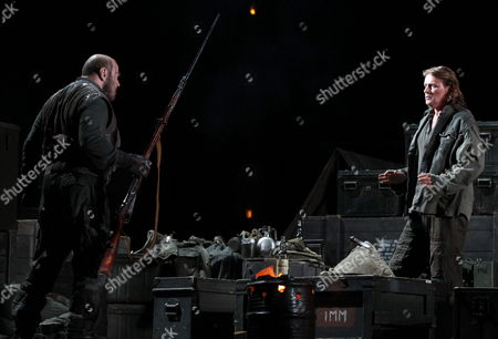 German Tenor Klaus Florian Vogt (r) and Us Basso Eric Halfvarson (l) Perform on Stage During the Press Pass of the Richard Wagner's Opera 'The Valkyrie' at Gran Teatre Del Liceo in Barcelona Northeastern Spain 16 May 2014 Spain Barcelona