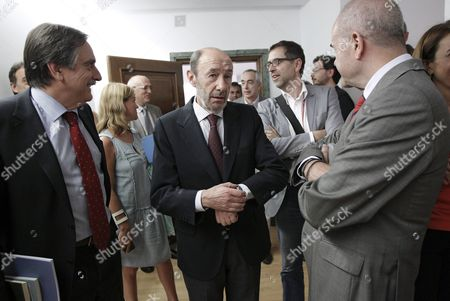 Alfredo Perez Rubalcaba (c) Spanish Socialist Party Psoe's Acting General Secretary and Psoe Mp's Manuel Chaves (r) and Valeriano Gomez (l) Chat Prior to Their Party's Meeting on Their Position on the Abdication Law in Madrid Central Spain 10 June 2014 Felipe Vi Will Take Over the Throne on 19 June But Before That a Law Regulating the Procedure to Be Followed For a Royal Succession Has to Be Passed in the Lower House and Then Approved by the Upper House Spain Madrid