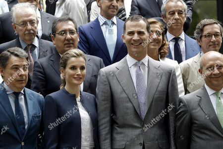Spanish Crown Prince Felipe (2-r Front) and His Wife Princess Letizia (2-l Front) Pose with Madrid's Regional President Ignacio Gonzalez (l-front) and Spanish Education Culture and Sports Minister Jose Ignacio Wert (r-front) For a Group Photo After Chairing the Annual Meeting of the Students' Residence Foundation in Madrid Spain 11 June 2014 Crown Prince Felipe Will Be Proclaimed King of Spain in a Ceremony at the Spanish Lower House (congreso) on 19 June Spain Madrid
