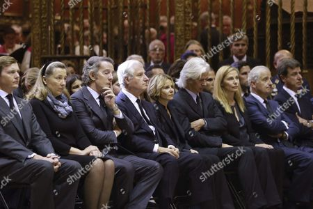 Carlos Fitz-james Stuart 14th Duke of Huescar (4-l) Heir of Cayetana Fitz-james Stuart the Duchess of Alba Sits with His Siblings Eugenia Martinez De Irujo 12th Duchess of Montoro (5-l) Jacobo Fitz-james Stuart 23rd Count of Siruela (4-r) Alfonso Martinez De Irujo 15th Duke of Aliaga (2-r) and Cayetano Martinez De Irujo 13th Count of Salvatierra (r) and Her Widower Alfonso Diez (3-l) During the Funeral Service For His Mother at the Cathedral in Seville Spain 21 November 2014 the Spanish Aristocrat Died Aged 88 at Home on 20 November After a Short Illness Spain Seville
