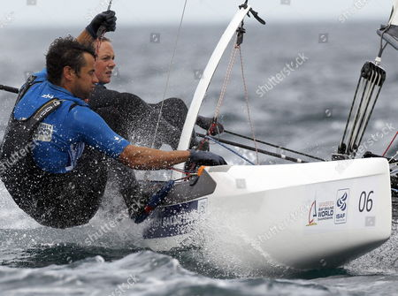 British Sailors Jhon Gimson (l) and Pippa Wilson Compete in the Nacra 17 Class at the Santander 2014 Isaf Sailing World Championships in Santander Northern Spain 19 September 2014 Spain Santander
